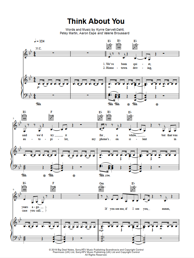 KYGO THINK ABOUT YOU PIANO SHEET MUSIC