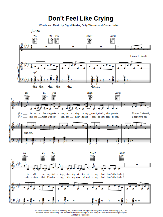 SIGRID DON'T FEEL LIKE CRYING PIANO SHEET MUSIC