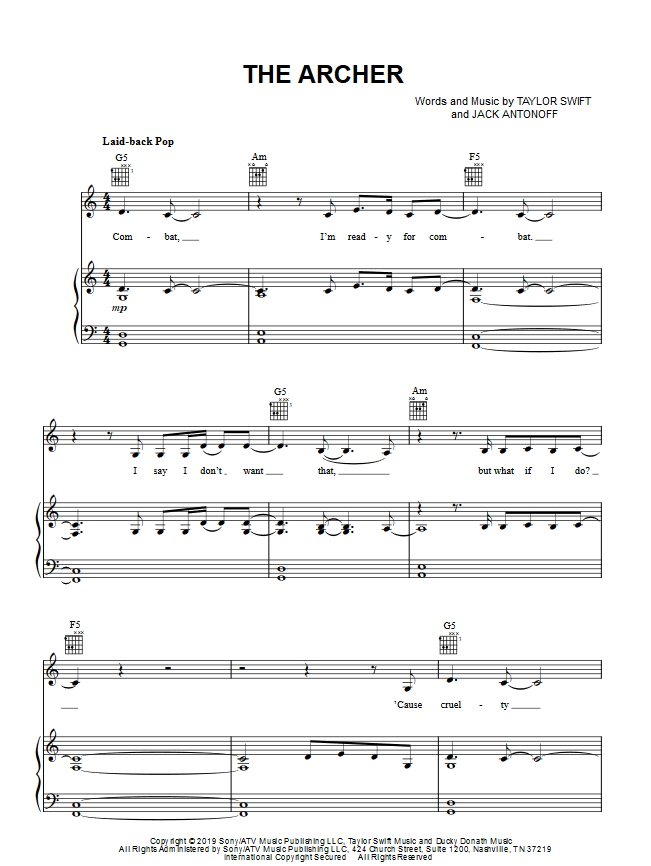 TAYLOR SWIFT THE ARCHER PIANO SHEET MUSIC